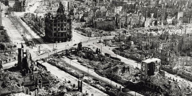 Aerial view of Dresden city centre, the area around Pirnaischer Platz, devastated by the Anglo-American...
