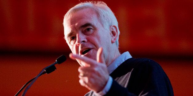 Shadow Chancellor John McDonnell speaks during the Building the Fight Against Austerity conference, organised...