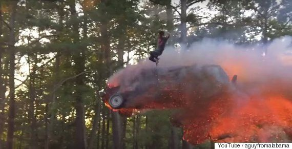 Man Decides To Crash Land Flaming Truck Into Pool Of