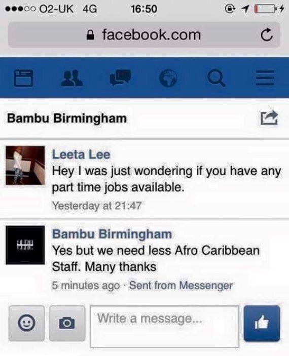 Birmingham Nightclub 'Bambu' Tells Black Job Applicant 'We Need Less Afro-Caribbean