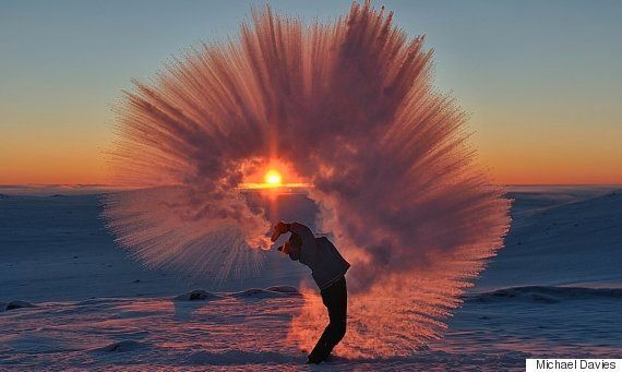 Photographer Creates Stunning Shower Of Ice Crystals After Throwing Hot Tea Into The Air During -40 C