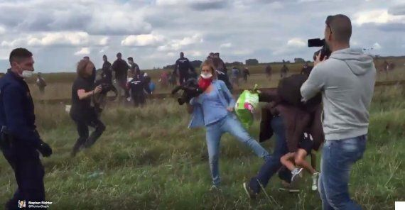 Hungarian Camerawoman Petra László Explains Why She Tripped Refugee Carrying