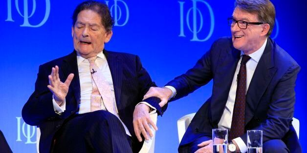 Former chancellor Nigel Lawson (left) and former business secretary Lord Peter Mandelson at the Institute...