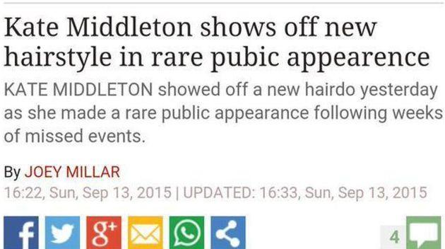 Daily Express Headline Typo Talks Of Duchess Of Cambridge's 'Pubic