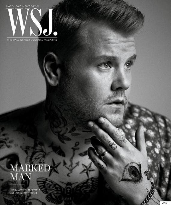 James Corden Poses For Harry Styles-Inspired Tattooed Fashion Shoot