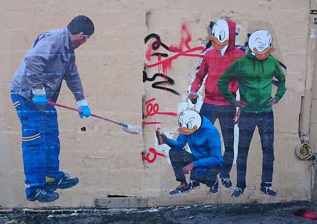 Graffiti Removal Guy Becomes Street Art In