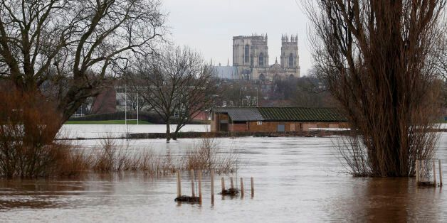 Flood water in the city of York as York Minster is seen in the distance, following the weekend's