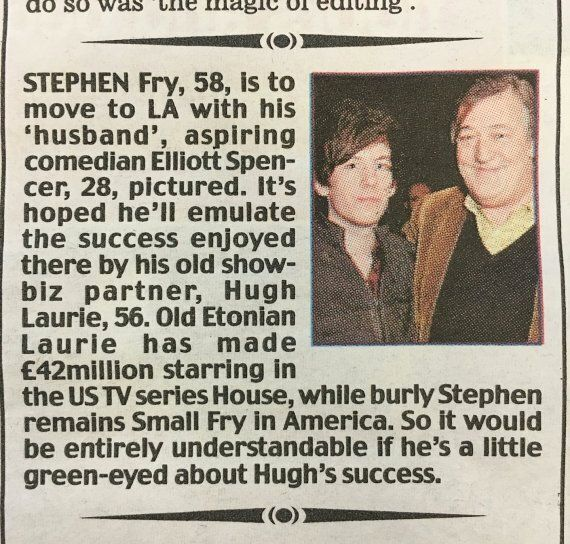 Stephen Fry's Husband Elliott Spencer Described With Inverted Commas By Daily Mail