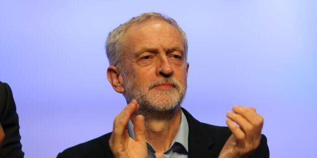 Labour party leader Jeremy Corbyn on stage at the TUC Congress at the Brighton