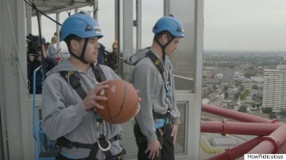 'How Ridiculous' Duo Pull Off Ridiculously Improbable Basketball Trick Shots At The Orbit In London's...