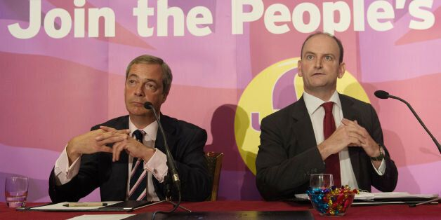 File photo dated 28/08/14 of Ukip leader Nigel Farage (left) with Douglas Carswell, who has issued a...