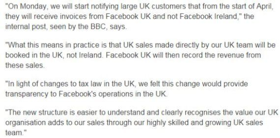 Facebook and UK Corporation