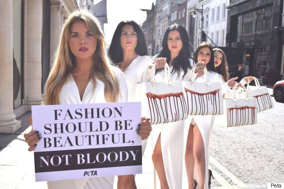 Models Carry Handbags 'Dripping With Blood' At PETA Protest Over What Not To Wear To London Fashion