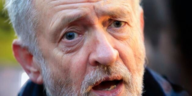 Labour Party leader Jeremy Corbyn attends a rail fares protest at King's Cross Station, London, this...