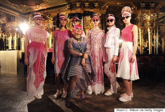 London Fashion Week 2015: Zandra Rhodes Opens With Pinks, Oranges And Embellished Trainers For S/S