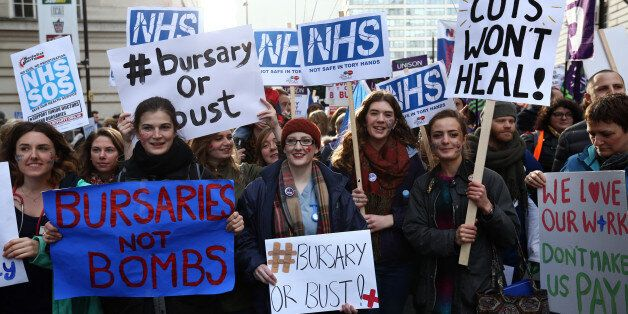 LONDON, ENGLAND - JANUARY 09: Student nurses and health workers take part in a demonstration against...