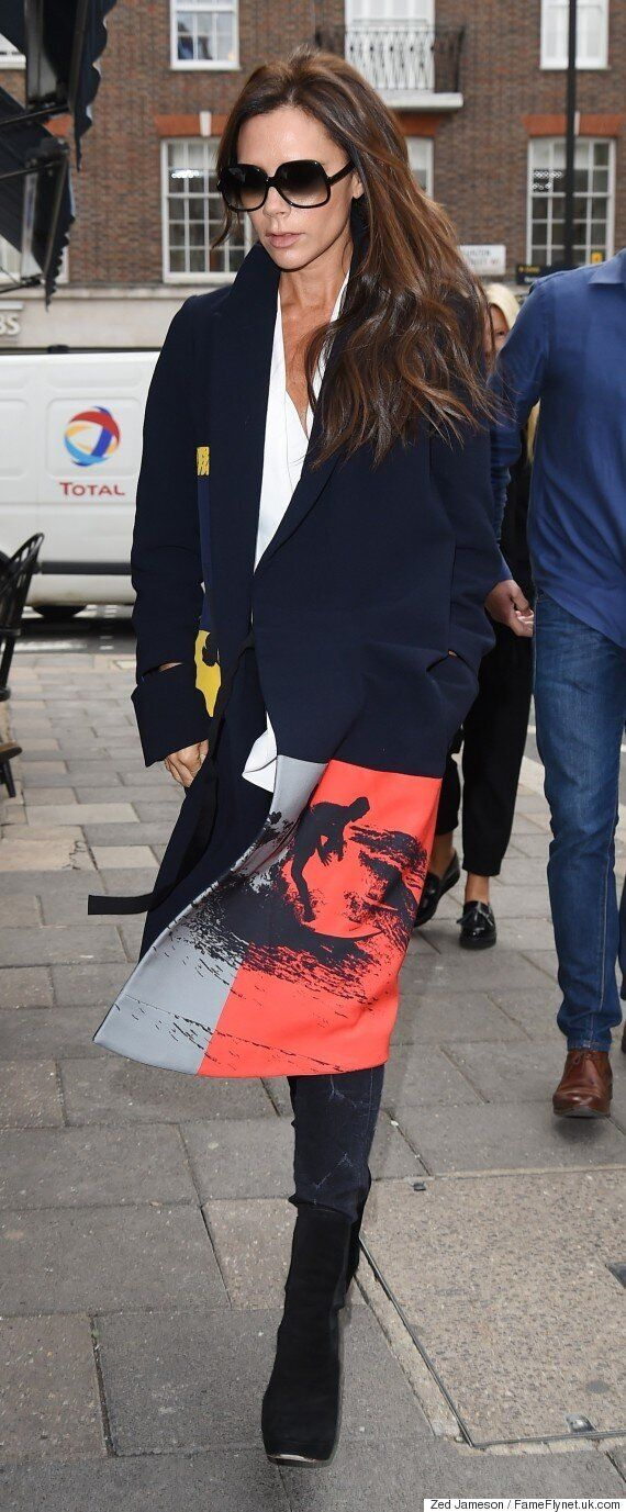 Victoria Beckham At LFW S/S 2016: Surf-Inspired Autumn Coat From Her Latest Collection Is
