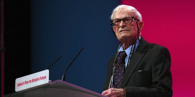 MANCHESTER, ENGLAND - SEPTEMBER 24: 91 year old Harry Leslie Smith delivers an impassioned speech about...