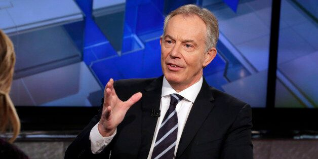Former British Prime Minister Tony Blair is interviewed by Maria Bartiromo during