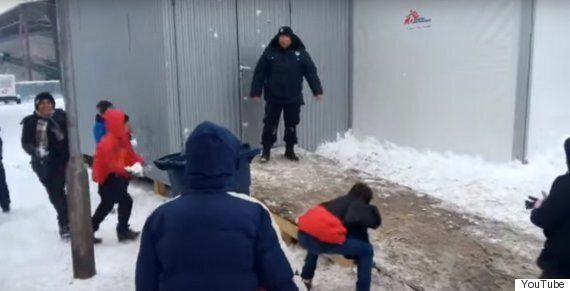 Refugees Caught Snowball Fighting With Serbian Police