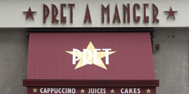 General view of a Pret a Manger store sign on Oxford Street in