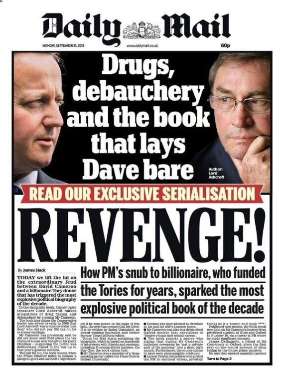 Lord Ashcroft Hits Back At David Cameron's Snub That He Was 'Stabbed In The