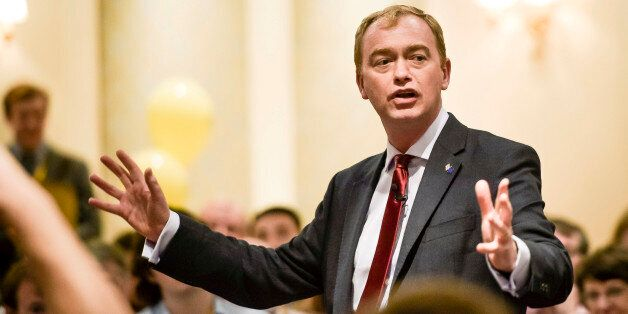 Leader of the Liberal Democrats, Tim Farron, speaks at a fringe event to launch the EU Referendum campaign...