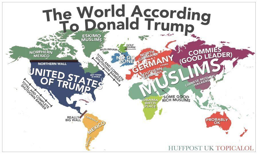 World Map According To Trump Map Of The World According To Donald Trump | HuffPost UK