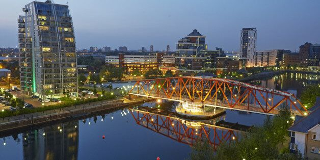 Elevated view of red bridge at the Manchester ship canal in the regenerated Salford Quays,
