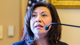 "WASHINGTON, DC, UNITED STATES - 2019/01/30: United States Representative Norma Torres (D-CA) seen speaking at the Center for Strategic and International Studies (CSIS) event on ""Future of the Rule of Law, CICIG, and Justice Reform in Guatemala"" held in the Rayburn House Office Building in Washington, DC. (Photo by Michael Brochstein/SOPA Images/LightRocket via Getty Images)"