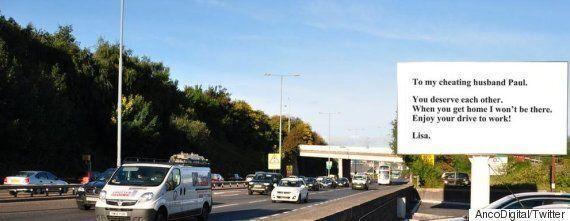 Sheffield Parkway: Woman Dumps 'Cheating' Husband Using Roadside Advertising