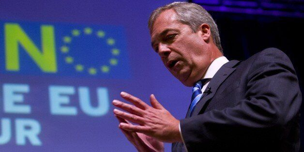 Leader of the UK Independence Party (UKIP) Nigel Farage, gives a speech to a crowd of supporters at the...