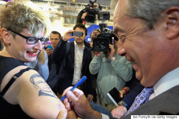 Ukip Leader Signs Arm Of Woman With Nigel Farage Tattoo As Party Conference Gets Into Full