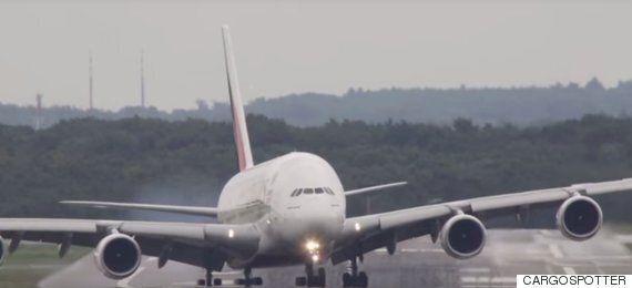 Pilot Pulls Off Airbus A380 Crosswind Landing As Ferocious Storm Hits Düsseldorf