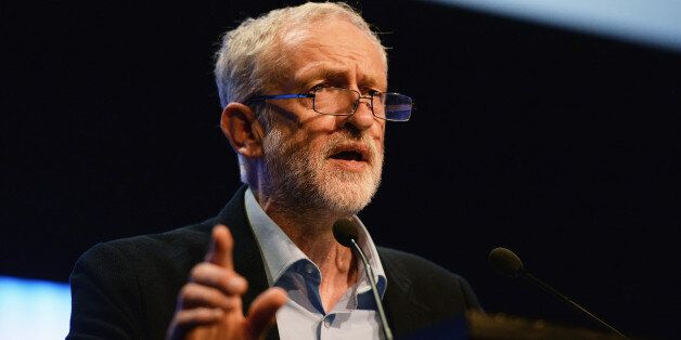 BRIGHTON, ENGLAND - SEPTEMBER 15: Labour party leader Jeremy Corbyn addresses the TUC Conference at The...