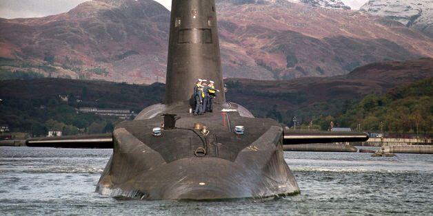 The Royal Navy's 16,000 ton Trident-class nuclear submarine Vanguard, as Labour's annual conference is...