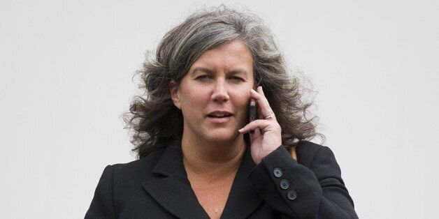 British Labour MP Heidi Alexander, newly appointed shadow health secretary, speaks on her mobile phone...