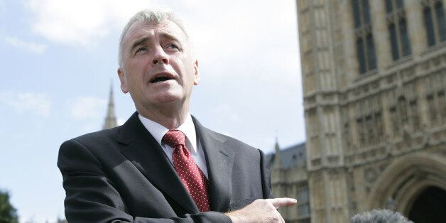 John McDonnell, British Labour MP, speaks to the media outside the Palace of Westminster, Friday July...