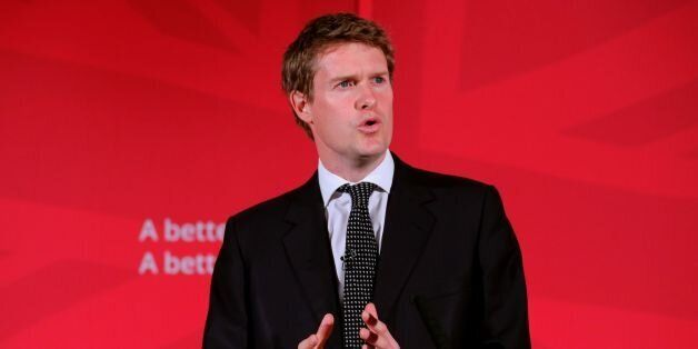 Labou's Shadow Education Secretary Tristram Hunt speaks during a press conference in London, as the party...