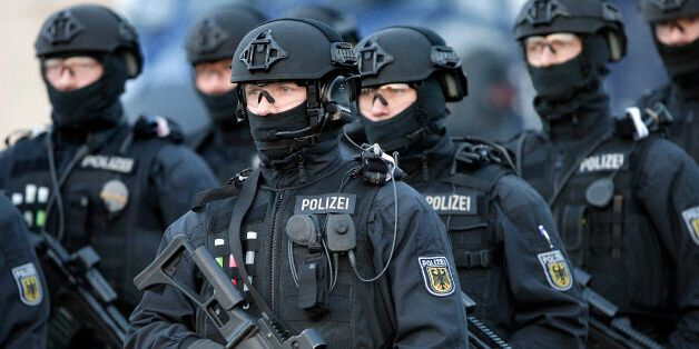 Police officers hold weapons during a training operation of the new BFE+ (Evidence and Arrestment) unit...