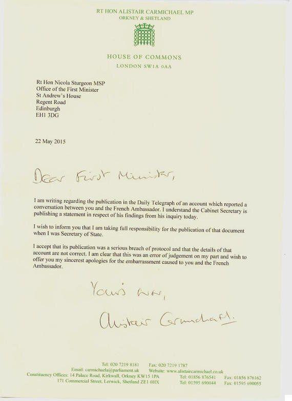Alistair Carmichael Admits To Leaking Nicola Sturgeon Memo During Election