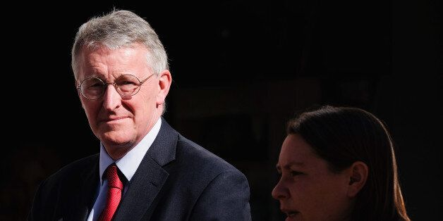 REDCAR, ENGLAND - APRIL 21: Hilary Benn, the Shadow Communities Secretary joins Labour candidate for...