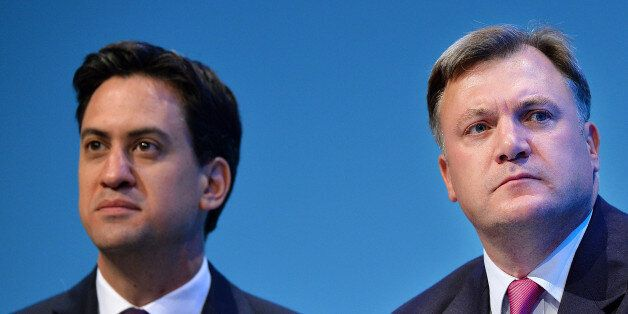 Britain's Labour party leader Ed Miliband (L) and Shadow Chancellor of the Exchequer Ed Balls attend...