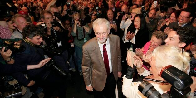 Labour Leader Jeremy Corbyn takes the applause of delegates following his keynote speech during the third...