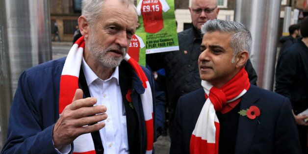 Labour leader Jeremy Corbyn with London mayoral candidate Sadiq Khan MP and fans protesting against the...
