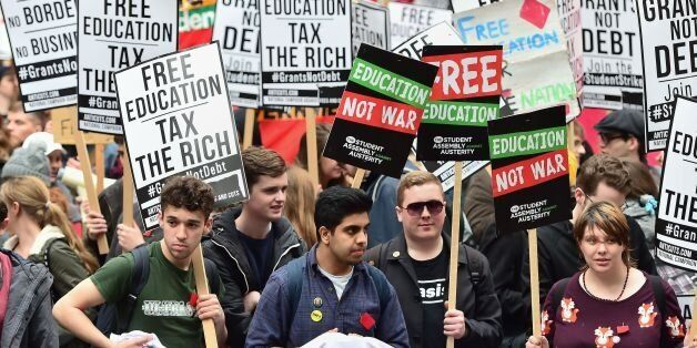 Students during a protest calling for the abolition of tuition fees and an end to student debt in Westminster,