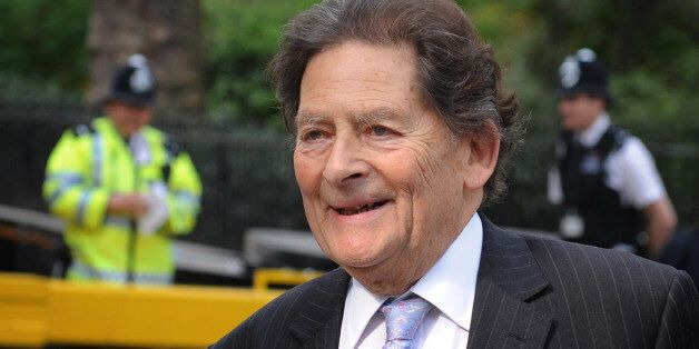 Former Chancellor of the Exchequer Nigel Lawson arrives at television studios in Westminster today where...