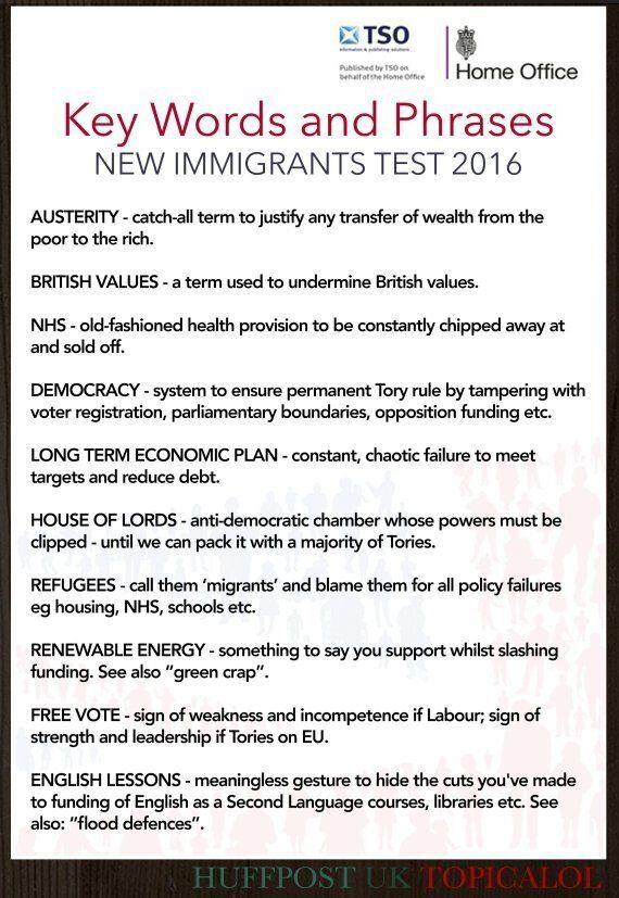 David Cameron's Immigrant English Tests Key Words List