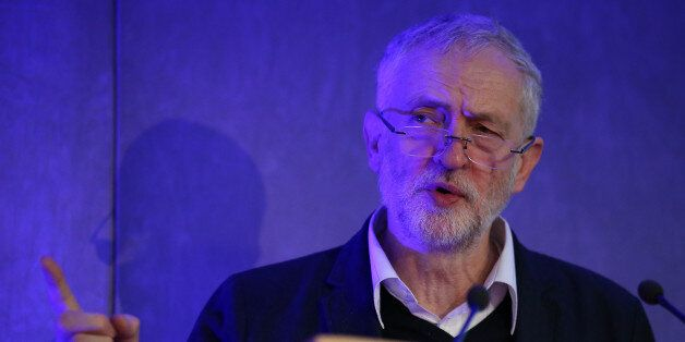 Labour party leader Jeremy Corbyn addresses the first-ever Unite Scotland policy conference at the Golden...