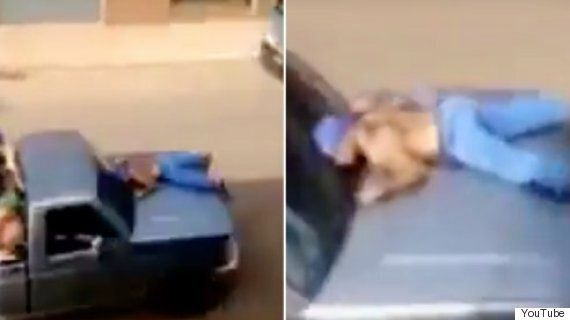 Video Captures Shocking Moment Man Is Strapped To Bonnet Of 'Getaway' Car In